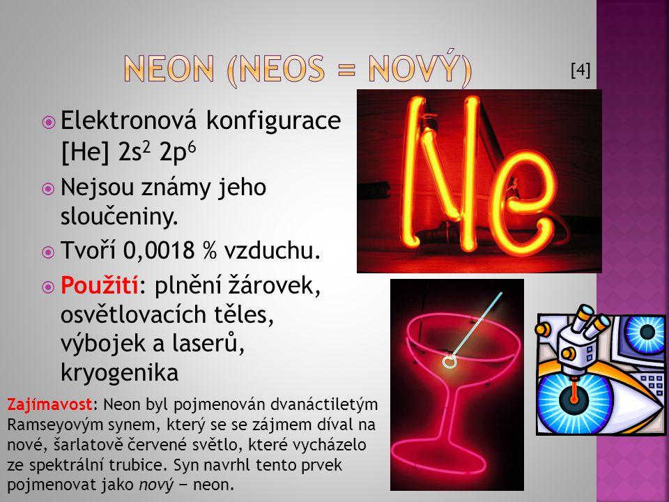 Neon (neos = nový) Elektronová konfigurace [He] 2s2 2p6